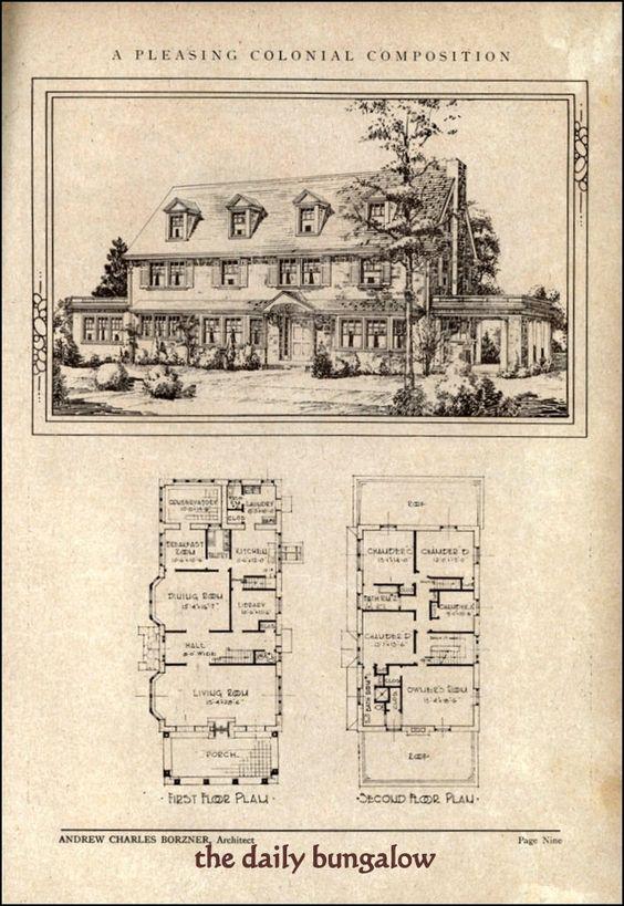Colonial bungalow plans architecture pinterest for Antique colonial house plans