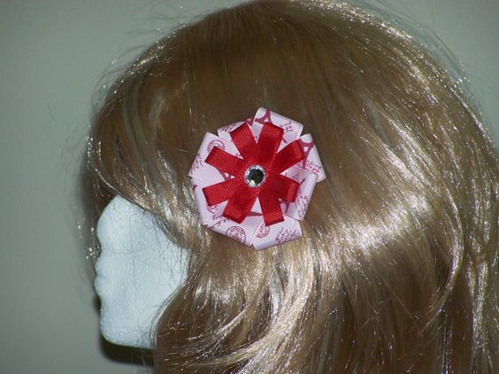 3 Inch Hair Bow Pink and Red Paris Bow Alligator by HairBowAplenty