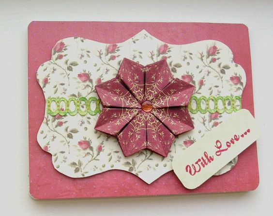 Roses and Ivory Tea Bag Folding Card