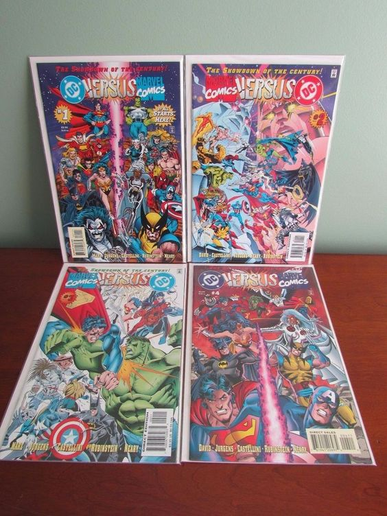 DC Versus Marvel Comics 1 2 3 4 Superman Hulk Spiderman Batman VS Compete Set
