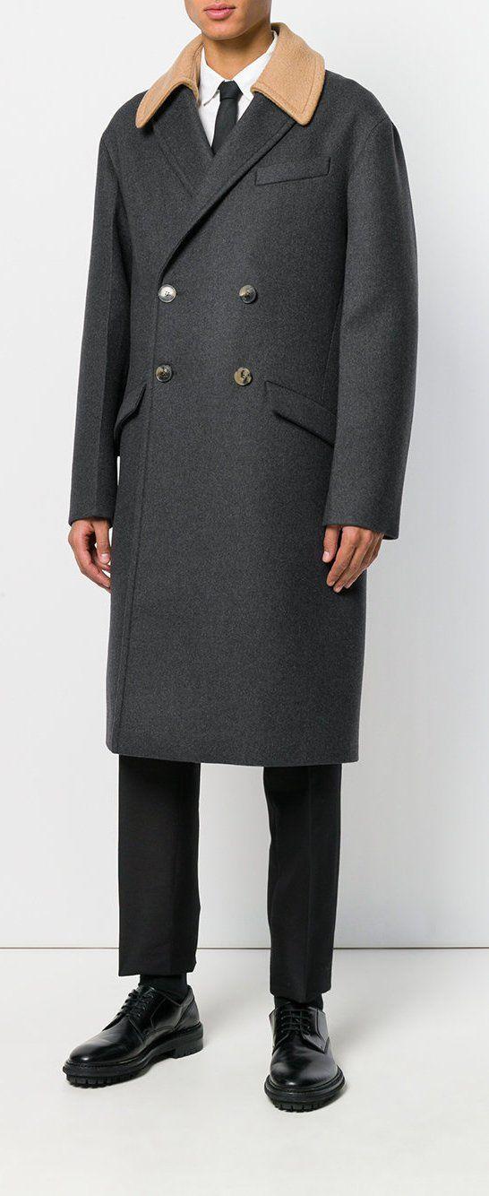 Mens Grey Double Breasted Herringbone Wool Overcoat Long Coat Winter Cromby