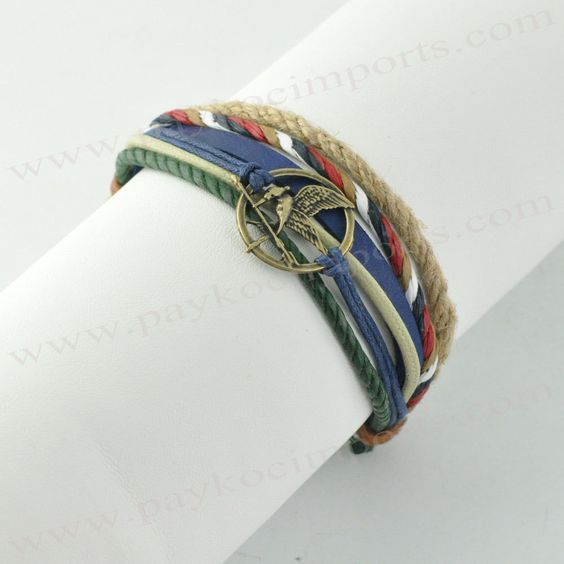 Chords Armband - Hunger Games Layered Wristband with Blue Leather - C15035