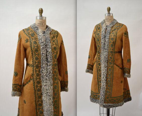 Vintage Embroidered Shearling Afghan Jacket Coat by Hookedonhoney