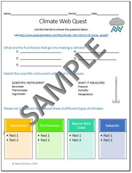 This one page (front and back) Climate Science/Geography webquest helps students…