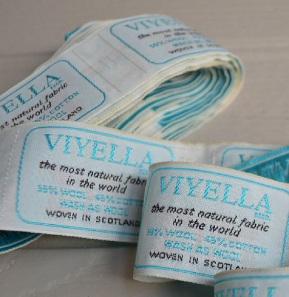 Viyella fabric labels from 1960s by McBurneyandBlack on Etsy