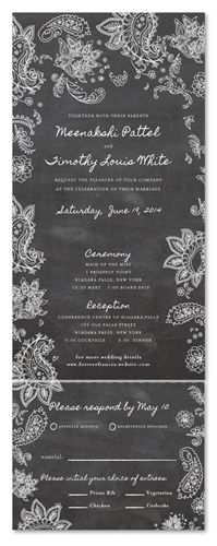 Seal and Send Wedding Invitations - Indian Smile (chalkboard edition) by ForeverFiances Weddings