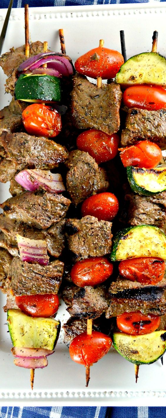 Marinated beef, Shish kabobs and Kabobs on Pinterest