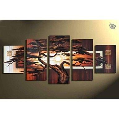 moderna+pintura+a+óleo+da+paisagem+pintada+à+mão+em+paredes+de+lona+art+imagens+de+árvores+5pcs+/+set+sem+moldura+–+BRL+R$+167,60