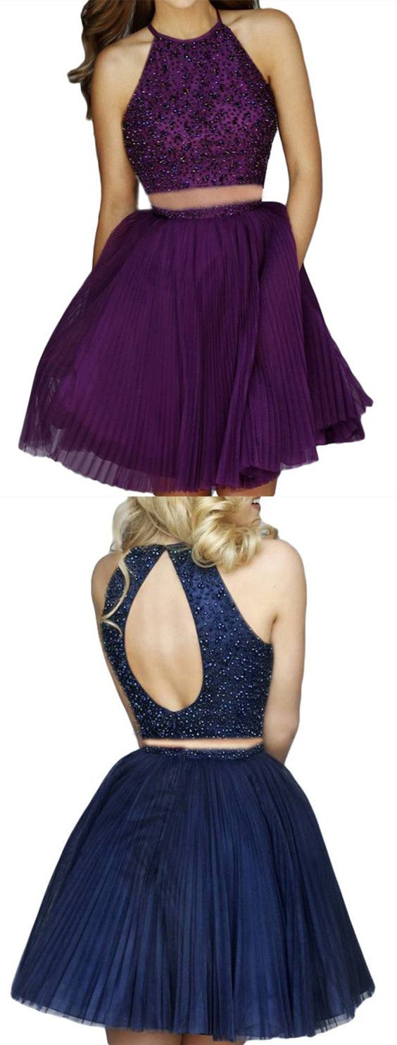 A Line Beaded Halter Keyhole Back Homecoming Dresses Two Piece Prom Short Dress Piece Prom Dress Short Dresses Purple Homecoming Dress [ 1484 x 564 Pixel ]
