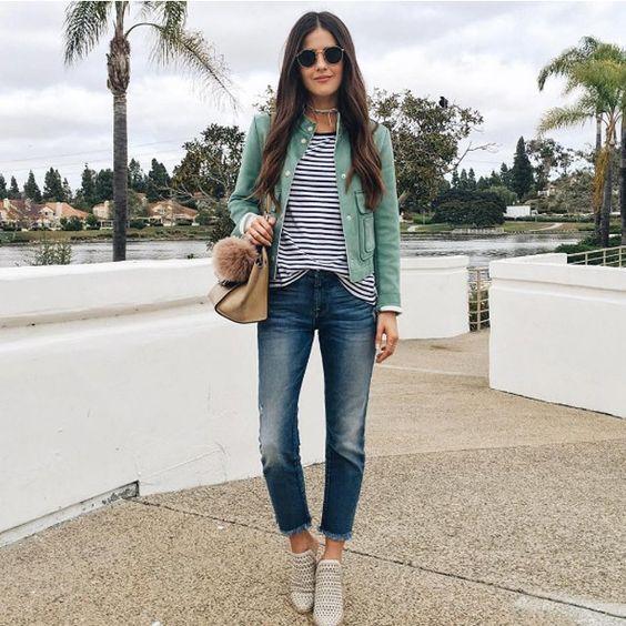A striped t-shirt is a wardrobe classic.