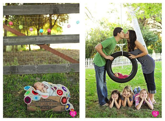 family photos...LOVE the baby in the tire swing