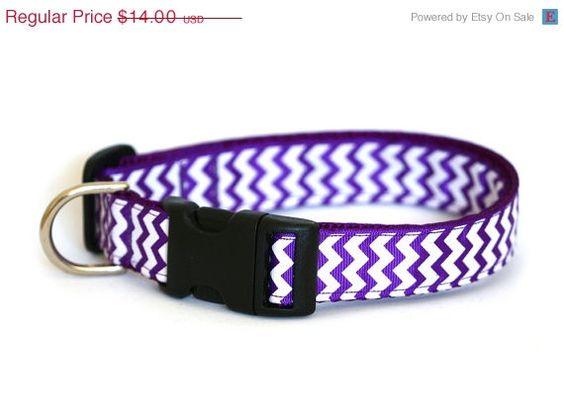 ON SALE Chevron Dog Collar Chevrons on Purple by Pugs2Persians