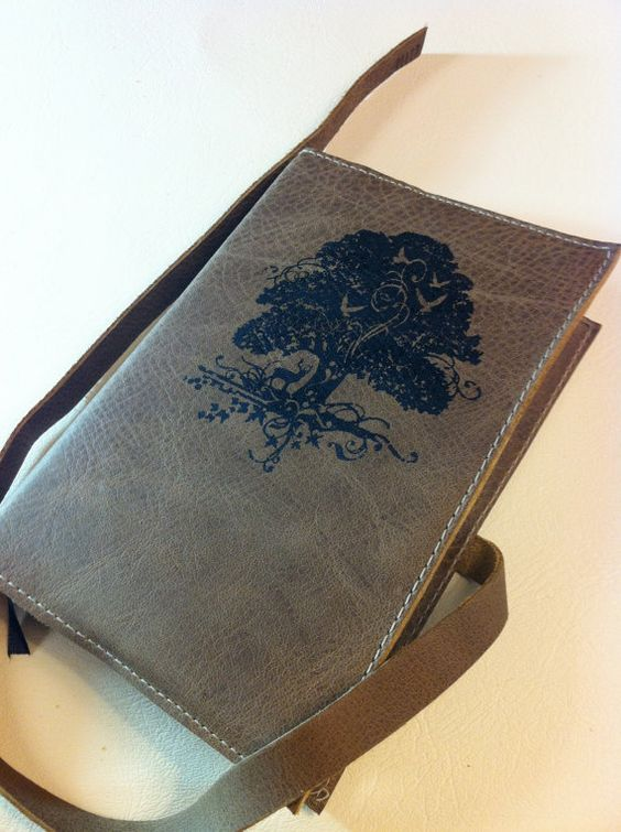 leather handprinted journal customized for you by inblue on Etsy, $25.00