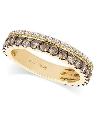 Le Vian 14k Gold Ring, Chocolate and White Diamond 2-Row Band (1-1/10 ct. t.w.) - Rings - Jewelry & Watches - Macys