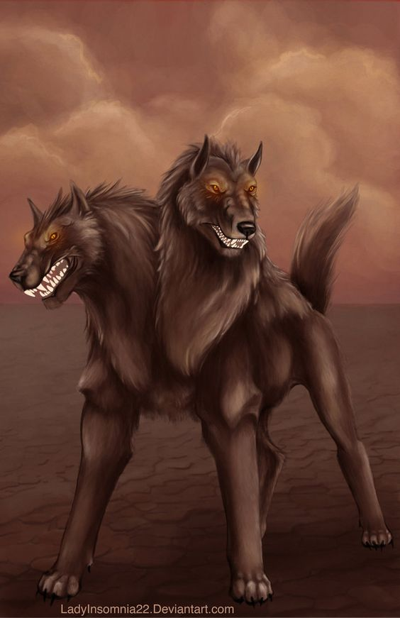 Orthus- Greek myth: a two headed dog. Cerbeus's sibling. He was the shepherd dog of the giant Geryon  and his red cattle: