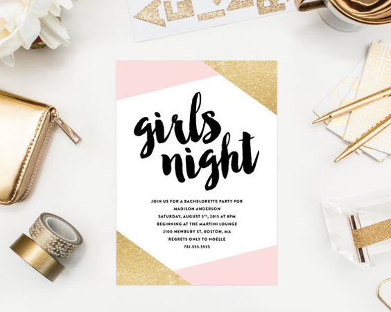 Girls Night Bachelorette Party Invitations by Fine and Dandy Paperie - Available as a Printed Invitation or a Printable Invitation!