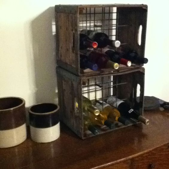 Milk crate wine rack diy decor pinterest it is milk for Crate wine rack diy