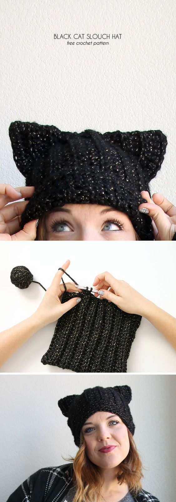 black cat hat - free crochet pattern from www.persialou.com: