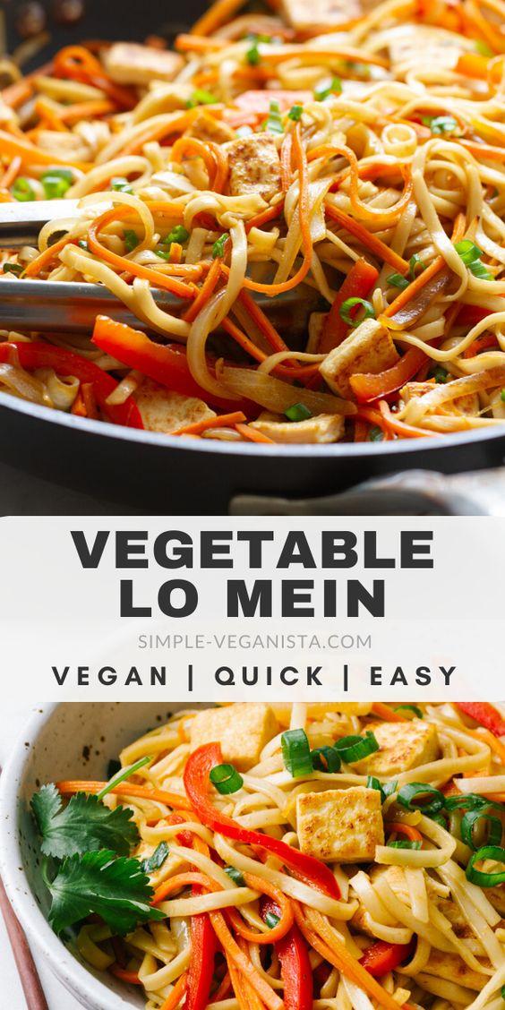 Vegetable Lo Mein with Crispy Tofu - 30 Minute Easy Vegan Recipe