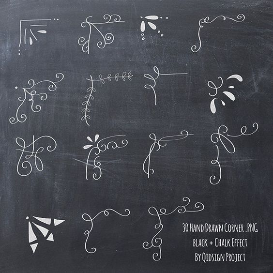 BUY2GET1FREE 30 Hand drawn corner clipart chalk by qidsignproject