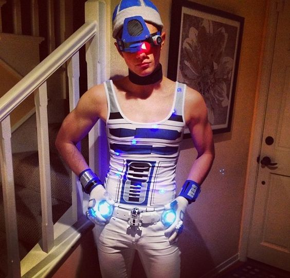 Chris's halloween outfit this year, sexy R2D2!! I am proud to love him