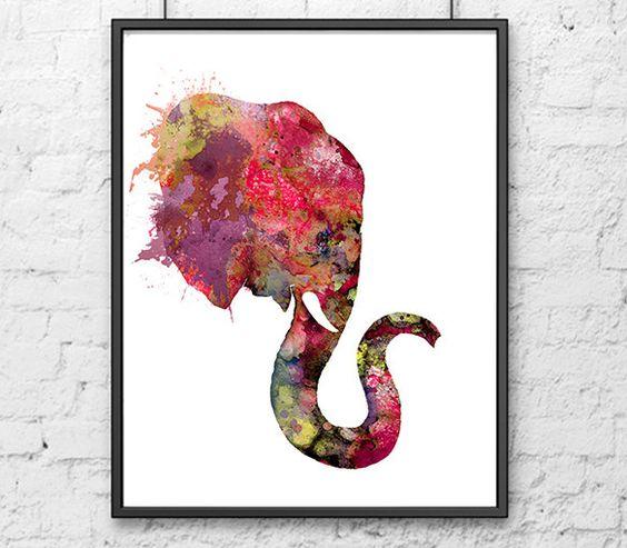 Elephant art print watercolor paintig animal art home decor kids room decor elephant painting (15.00 USD) by Thenobleowl