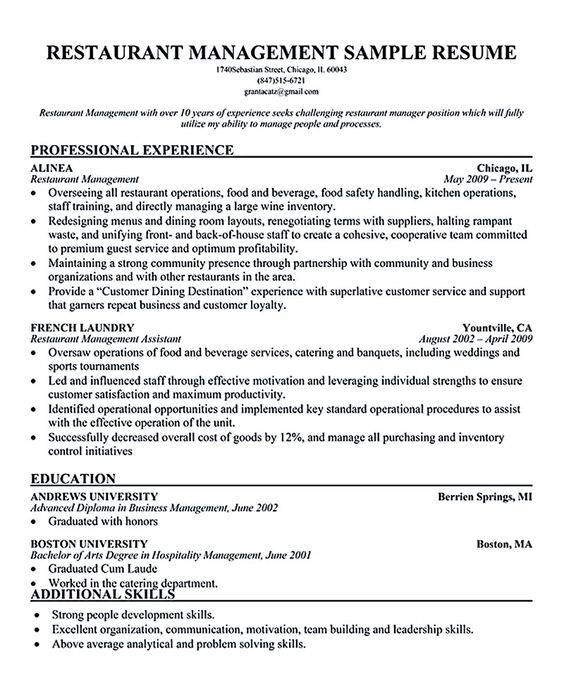resume of restaurant manager