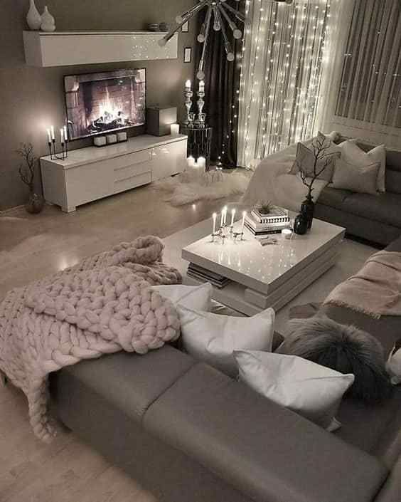 Loving This Grey Modern And Cozy Living Room Decor Livingroom Decor White Living Room Decor Trendy Living Rooms Living Room Decor Cozy