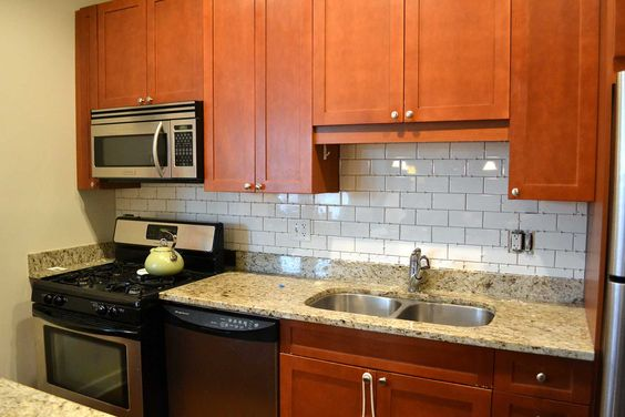 kitchen  tile backslpash ideas | Kitchen, Modern Glass Subway Tile Backsplash For Kitchen Designs ...