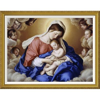 Global Gallery 'The Madonna and Child in Glory' by Giovanni Battista Salvi Sassoferrato Framed Painting Print Size: