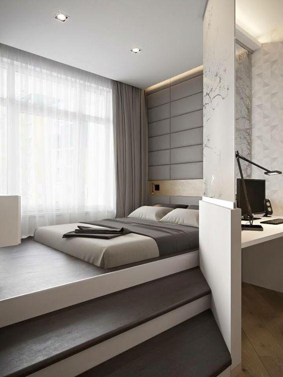 Une chambre minimaliste et contemporaine. www.m-habitat.fr/...   House  Architecture   Pinterest   Design bedroom, Bedrooms and Modern
