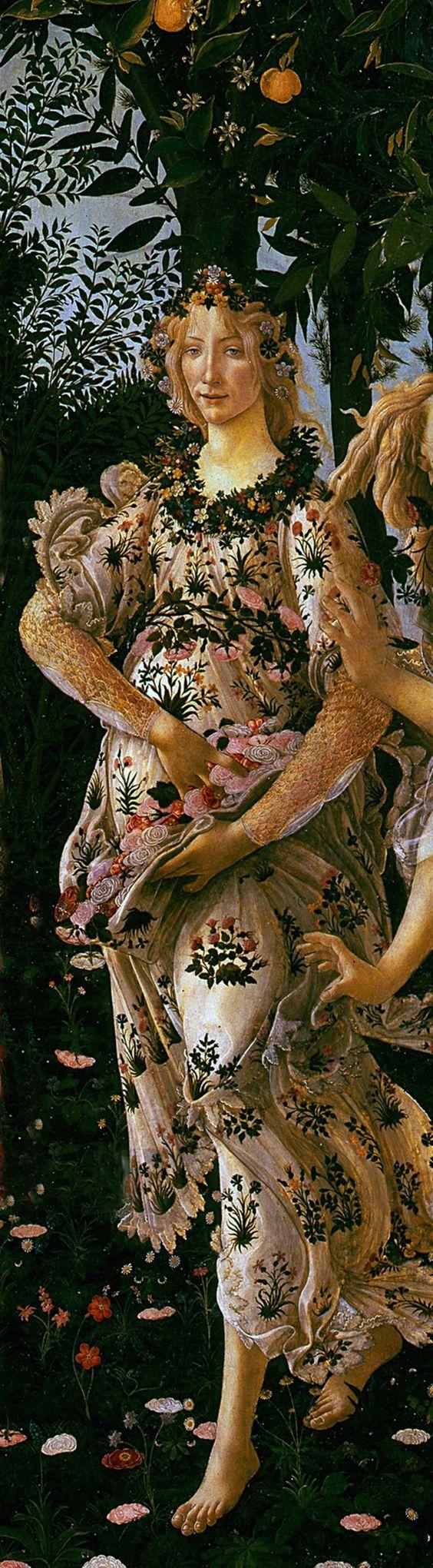 """.Flora, detalhe de """"A Primavera"""", também conhecido como Alegoria da Primavera. Criação: 1477–1482"""