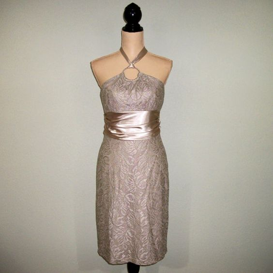 Cocktail Dress Small Medium Size 8 Gold Lace by MintJulepShoppe