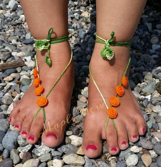 Beach Wedding ORANGE rose Barefoot Sandal,Footless sandals,NUDE shoes,Lace shoes,BRIDESMAID gift,Summer Sexy Shoe,Pool Party wear, Yoga, by MapleDew on Etsy