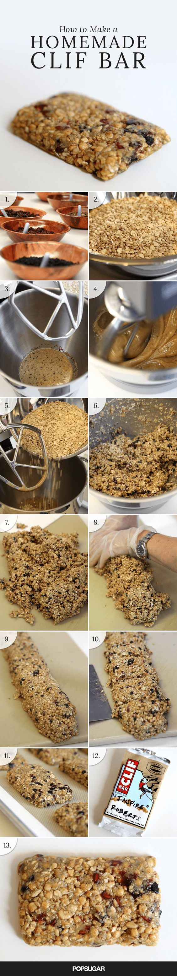 Have you ever wondered how to blend, shape, and bake energy bars? The makers of Clif Bar shared their tips and techniques for making snack bars using oats, nut butter, and a variety of dried fruits. See the step-by-step instructions, so you can be empowered to make your own for post-workout snacks, road trips, or for any time you're on the go.