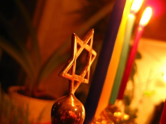 Hanukkah lights and Star of David