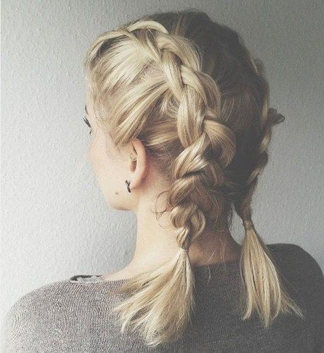 Braids Inspiration Tumblr Pinterest Hairstyle Side Braids Inspo Short Blonde Hair Girl Lil I French Braid Short Hair Performance Hairstyles Curly Hair Styles