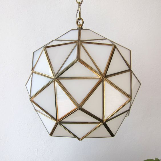 Vintage opaline glass Andalusian lamp, Re-wired; Milk glass and brass pendant light; Arabic o ...