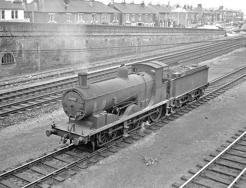 A 700 class 0-6-0, 30695, still soldiers on at Eastleigh despite its 65-years of service. Hampshire, England. Negative scan.