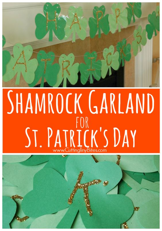 Shamrock garland and decoration for St. Patricks Day. Fun craft for kids! Practice fine motor skills and letter recognition.