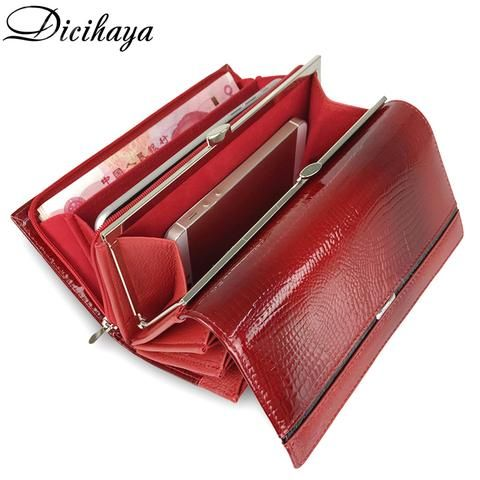 DICIHAYA New Fashion Women Wallets Genuine Leather Zipper Wallet With Coin Bag