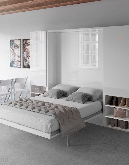 Hover Horizontal Queen Murphy Bed Desk With Images Wall Bed