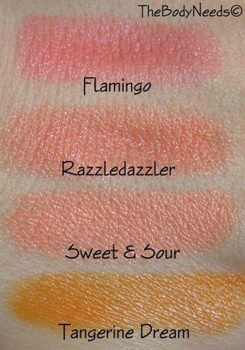 MAC Lipstick Swatches in Flamingo, Razzledazzler, Sweet ...