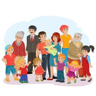 Vector big happy family - great-grandfather, great-grandmother, grandfather, grandmother, dad, mom, daughters and sons
