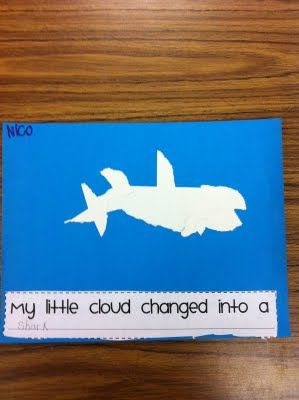 a little cloud loosely based on Cloud art inspired by eric carle - so adorable #preschool #kidscrafts (  cloud  puppets- use with eric carle little cloud book for letter c or weather theme.
