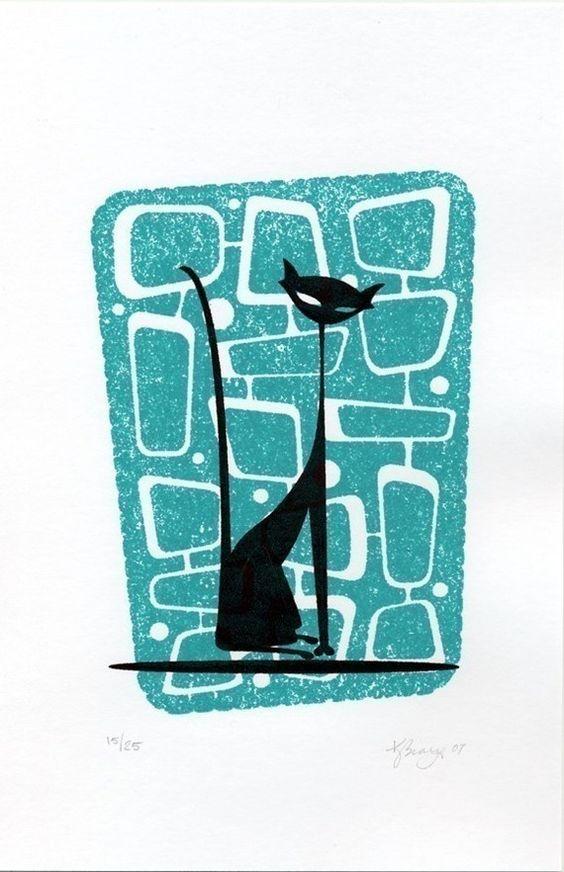 """Atomicat Black Cat"" Gocco Print by Kerry Beary | lovin' on Mid-Centu…"