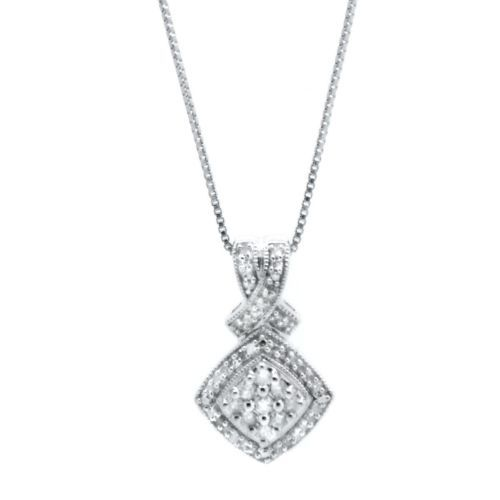 """$499 STERLING SILVER 0.26CT DIAMOND NECKLACE 18"""""""