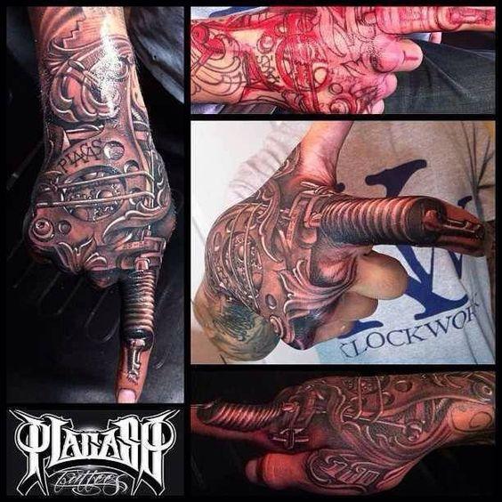 Tattoo gun hand tattoo