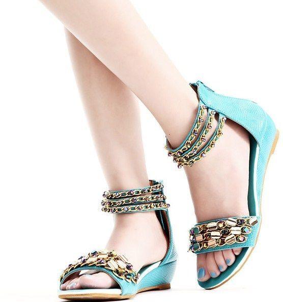 Designer Damen Schuhe Riemchen Sandalen,Wedge,Gold Kette 1A Qualität  UVP 29,90€