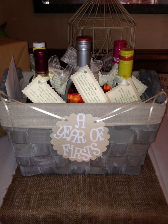 Wedding Gift Basket Of Firsts : Wedding gift. Year of firsts basket